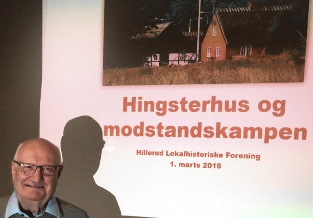 Mogens Hansens spændende foredrag om skovfogedhuset Hingsterhus' rolle under besættelsen.